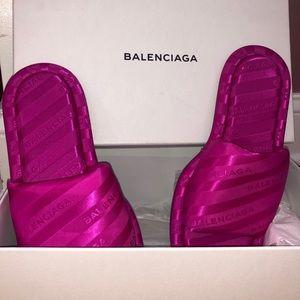 Balenciaga Hotel Satin Slides